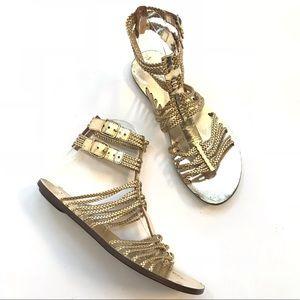 J Crew braided gold metallic gladiator sandals 7.5